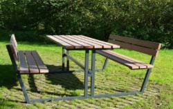 Øko bordbænkesæt m/ryg - stål stel